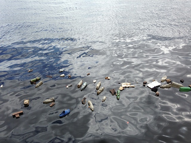 Water filled with plastic pollution