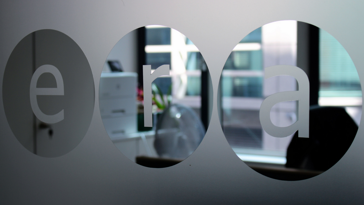 ERA office, view through glass screen with ERA logo