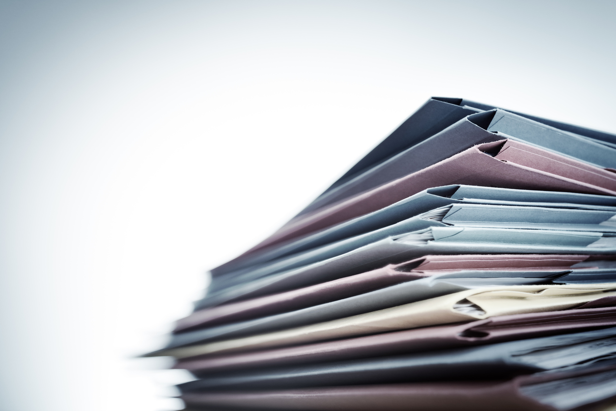 Pile of business document files